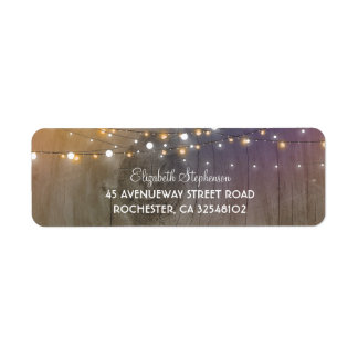 Rustic Wood and String of Lights Wedding Label