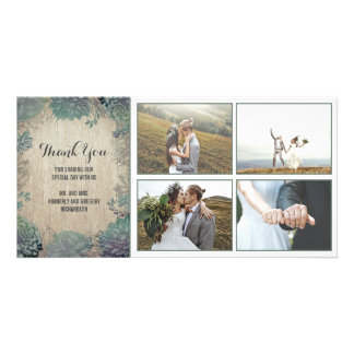Rustic Wood and Succulents Wedding Thank You Card