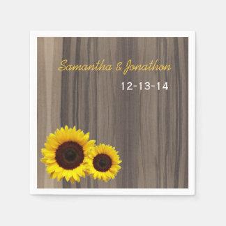 Rustic Wood and Sunflower Custom Wedding Napkin