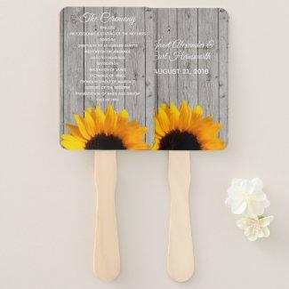 Rustic Wood and Sunflower Wedding Program Fan