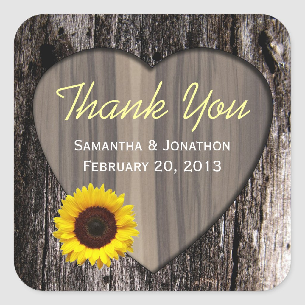 Rustic Wood and Sunflower Wedding Thank You Sticker