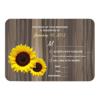 Rustic Wood and Sunflowers RSVP with Meal Options Card