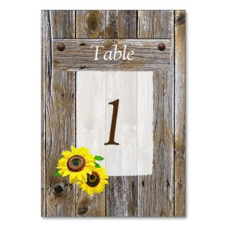 Rustic Wood and Sunflowers Table Number Wedding