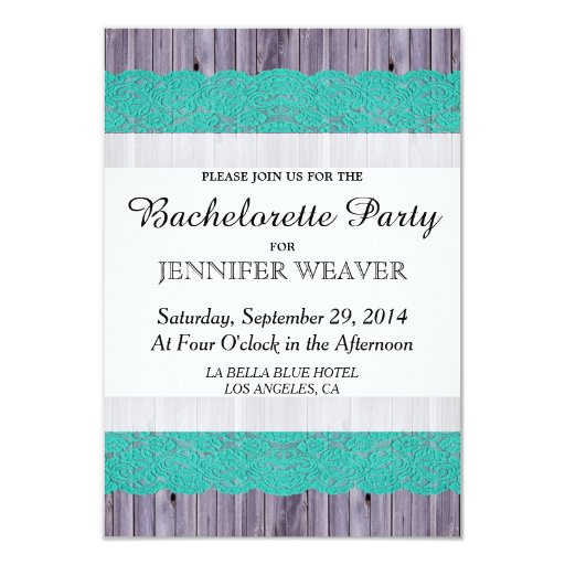 Rustic Wood and Teal Lace Personalized Invite