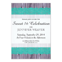 Rustic Wood and Teal Lace Sweet 16 Invites