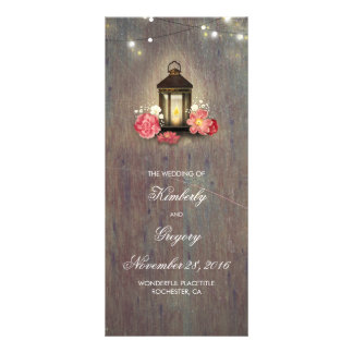Rustic Wood and Vintage Lantern Wedding Programs
