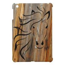 Rustic Wood And Wild Horses iPad Mini Cover