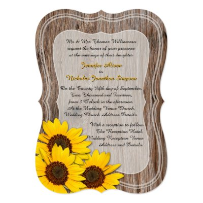 Rustic Wood and Yellow Sunflowers Wedding 5x7 Paper Invitation Card