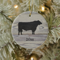 Rustic Wood Angus Bull Watercolor Ceramic Ornament