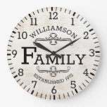 Rustic Wood Anniversary Vintage Family Name Custom Large Clock