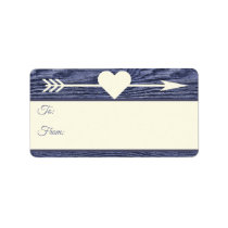 Rustic Wood Arrow Heart Blue Christmas Gift Tags
