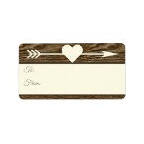 Rustic Wood Arrow Heart Brown Christmas Gift Tags