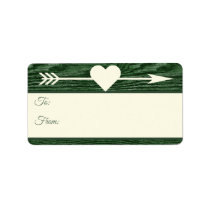 Rustic Wood Arrow Heart Green Christmas Gift Tags
