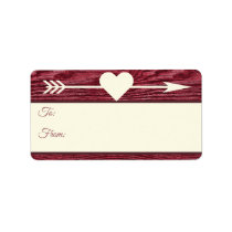 Rustic Wood Arrow Heart Red  Christmas Gift Tags
