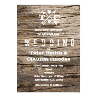 Rustic Wood Arrows & Hearts Wedding Invitation