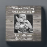 "Rustic Wood Aunt Nephew Custom Photo Plaque<br><div class=""desc"">A personalized keepsake to celebrate a favorite auntie. Featuring your favorite photo!</div>"