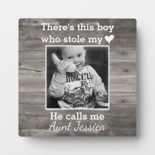 Rustic Wood Aunt Nephew Custom Photo Plaque