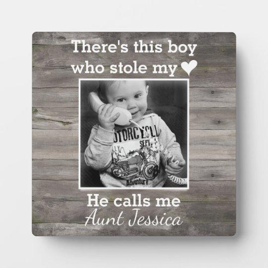 Rustic Wood Aunt Nephew Custom Photo Plaque
