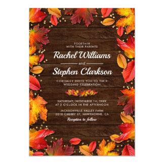 Rustic Wood Autumn Fall Leaves Gold Wedding Invitation