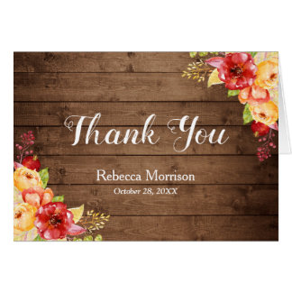 Rustic Wood Autumn Leaves Floral Thank You