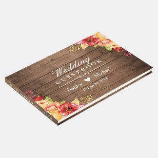 Rustic Wood Autumn Leaves Floral Wedding Guest Book