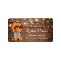 Rustic Wood Autumn Leaves Mason Jar Lights Wedding Label