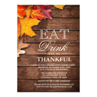 Rustic Wood Autumn Maple Thanksgiving Dinner Party Card at Zazzle