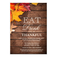 Rustic Wood Autumn Maple Thanksgiving Dinner Party Invitation