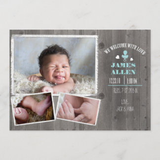 Rustic Wood Baby Boy Birth Annoucment Announcement