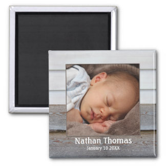 Rustic Wood Baby Boy Photo Frame Magnet