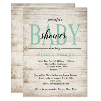 Rustic Wood Baby Shower Invitation, Mint Green Card