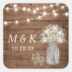 Rustic Wood Baby's Breath Floral Wedding Monogram Square Sticker at Zazzle
