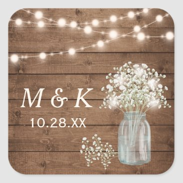 CardHunter Rustic Wood Baby's Breath Floral Wedding Monogram Square Sticker