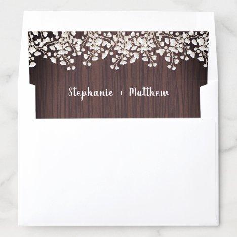 Rustic Wood Babys Breath Gypsophila Wedding Envelope Liner