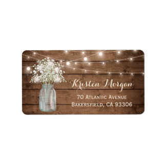 Rustic Wood Baby's Breath Mason Jar Lights Wedding Label