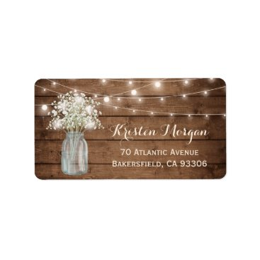 Toddler & Baby themed Rustic Wood Baby's Breath Mason Jar Lights Wedding Label