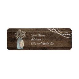 Rustic Wood Baby's Breath Mason Jar Wedding Label