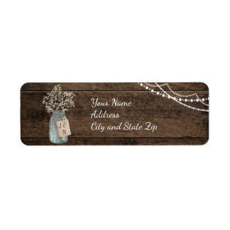Rustic Wood Baby's Breath Mason Jar Wedding Label