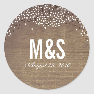 rustic Wood Baby's Breath Wedding Classic Round Sticker