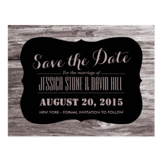 Rustic Wood Background Save the Date Postcard
