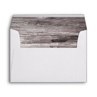Rustic Wood Background Wedding Envelope