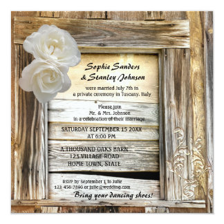 "Rustic Wood Barn Post Wedding Invitation 5.25"" Square Invitation Card"