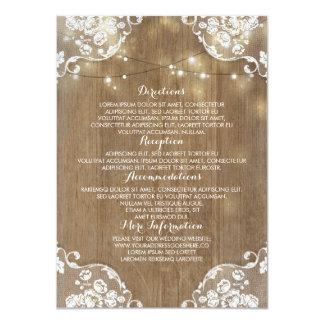 Rustic Wood Barn String Lights Wedding Information Card