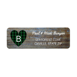 Rustic Wood Barn Wedding Label | Green Plaid Heart