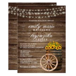 Rustic Wood Barrel and Sunflower Wedding Card