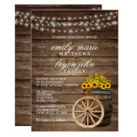 Rustic Wood Barrel and Sunflower Wedding Invitation
