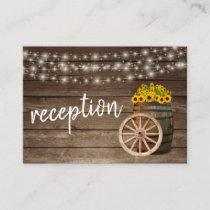 Rustic Wood Barrel and Sunflowers - Reception Enclosure Card