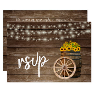 Rustic Wood Barrel and Sunflowers - RSVP Card