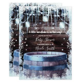 Rustic Wood Barrel & Lights Winter Baby Shower Card
