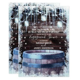 Rustic Wood Barrel & Lights Winter Barn Engagement Card